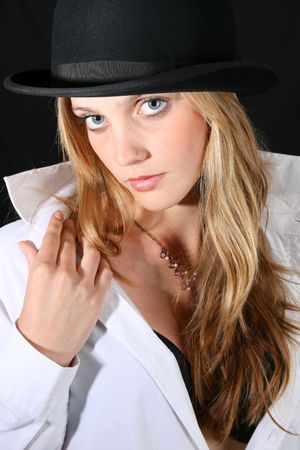 Beautiful young female model with blue eyes photo