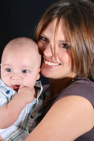 Mother and Baby boy on a black background Stock Photo - 3435244