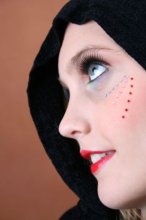 Female model with blue eyes wearing a scarf photo
