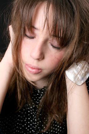 Close up of a teen model with closed eyes Stock Photo - 3598567