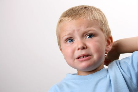teary: Beuatiful Blond toddler with big blue eyes