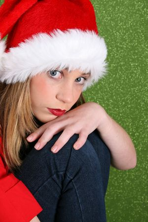 Christmas teen with a more serious expression