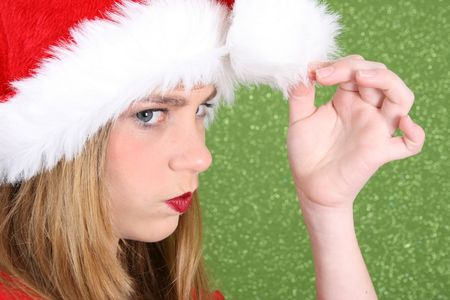 bore: Teenager with red lips wearing a christmas hat