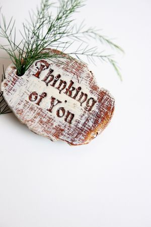 thinking of you: Wooden sign saying Thinking Of You and a branch Stock Photo