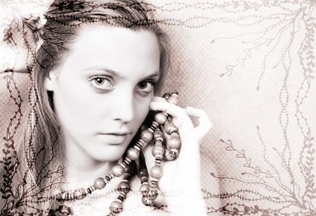 Beautiful model, layered image with border.  All images used, property of photographer. photo