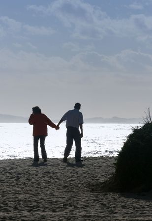 Loving couple walking on the beach, holding hands photo