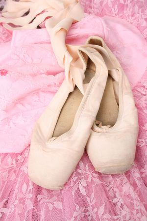 Pink Ballet costume and worn pointe shoes
