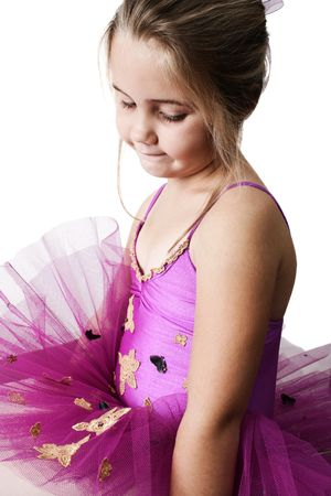Young girl wearing a tutu dreaming of becoming a ballet dancer  Stock Photo - 6792424