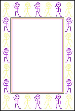 Happy and sad stickman border in purple and yellow Stock Photo - 6815572