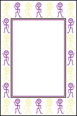 Happy and sad stickman border in purple and yellow Stock Photo - 6815572