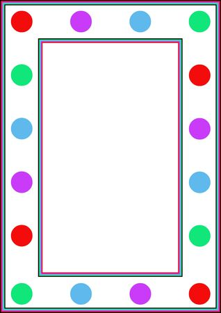 kiddies: Colourful border or frame with dots and stripes
