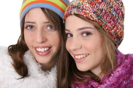 Beautiful teenage female friends in winter clothing Stock Photo - 6878607