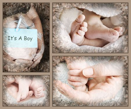 Collection of baby feet and hands with pregnant mother photo