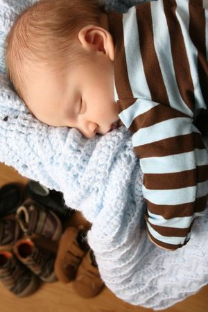 Month old baby boy sleeping in a drawer on a blanket