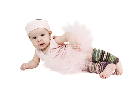 legwarmers: Baby girl wearing a ballet outfit and legwarmers Stock Photo