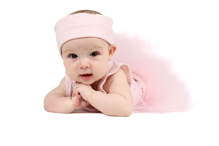 Baby girl wearing a ballet outfit and legwarmers Stock Photo