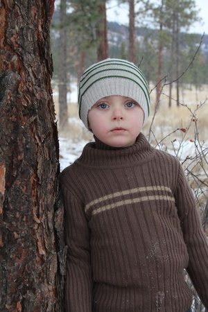 warmly: Warmly dressed boy outside in the snow