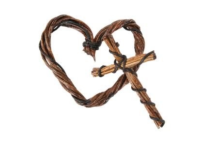Wooden and wire heart and cross decorations