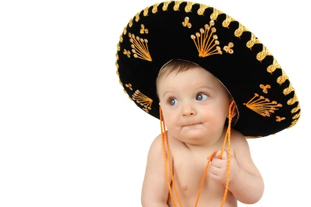 6 month old baby boy wearing a Mexican hat
