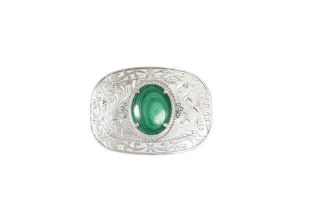 buckle: Silver belt buckle with green stone in the middle
