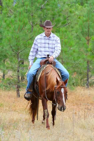 Young cowboy riding his horse in the field photo