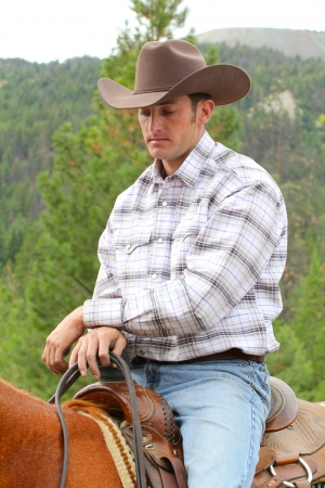 western saddle: Attractive young cowboy on horseback in the mountains
