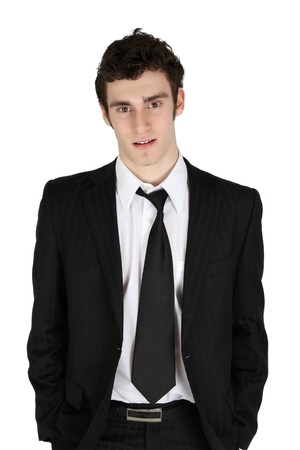 Attractive brunette male in suit with white shirt  photo
