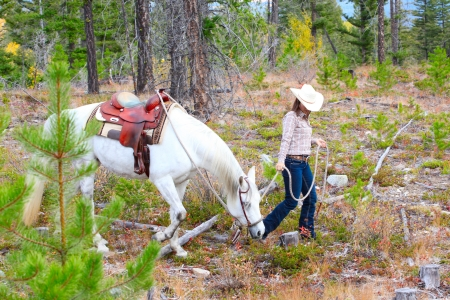 Beautiful brunette cowgirl with her horse on a mountain trail ride  photo