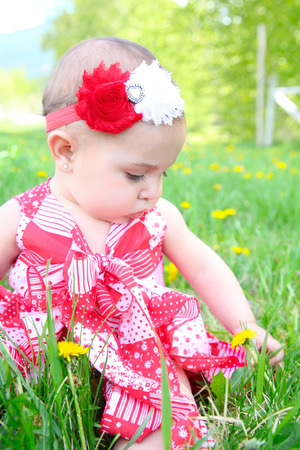 Beautiful brunette baby girl sitting in a field photo