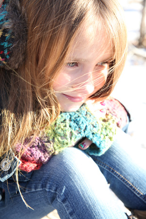 winters: Teen girl outside on a cold winters day