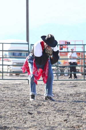 arena rodeo: MERRITT, B.C. CANADA - May 30, 2015: Rodeo Clown in the arena during The 3rd Annual Ty Pozzobon Invitational PBR Event.
