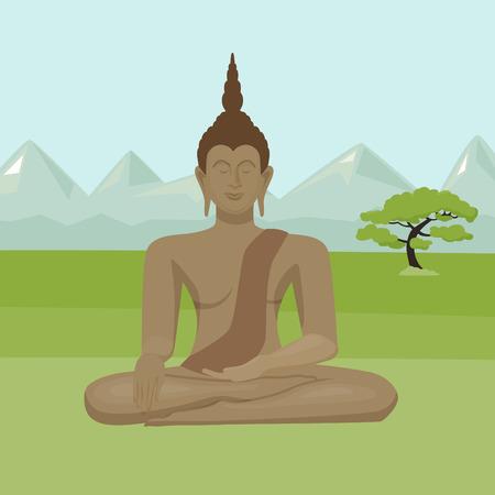 yoga outside: Sitting Buddha statue