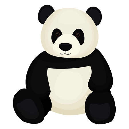 Cute panda bear toy sitting 向量圖像