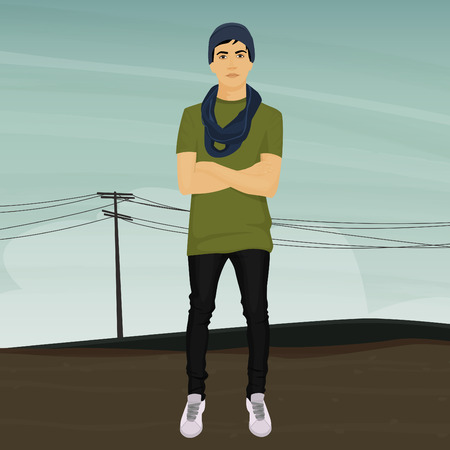 young man standing: Young man standing on urban background Illustration