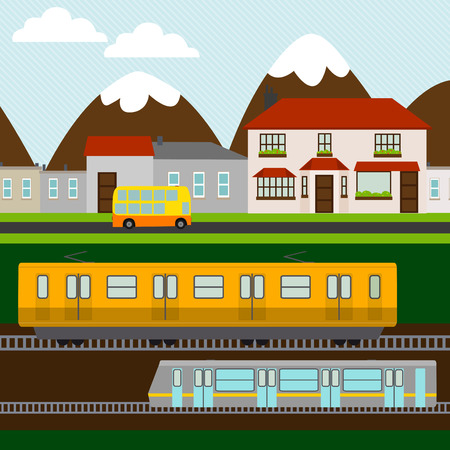 little town: Little town with train