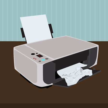 jammed: Printer with jammed paper