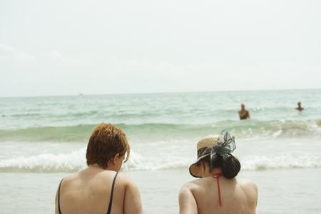 Ladies on the beach Stock Photo