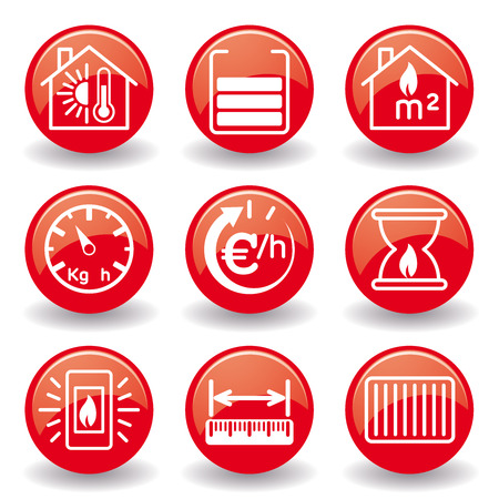 measures: Heating stoves fireplaces icons Red Ball
