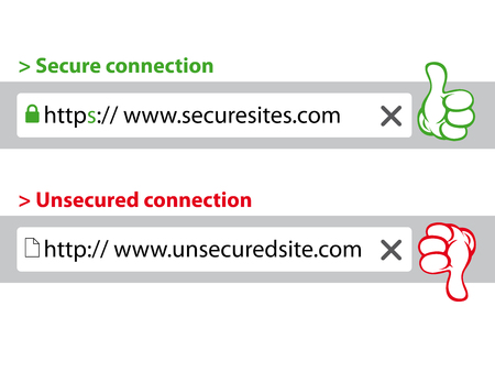 hypertext: HTTPS Secure connection - HTTP Unsecure connection. Illustration