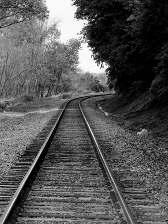 Black and white railroad track