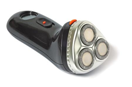 electric shaver: Rasoio elettrico su sfondo bianco. Isolato. Con ombra.