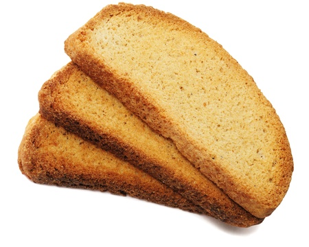 Rusks on white background photo