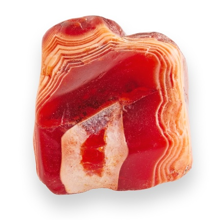 Red agate isolated on white with shadow  Central part of Kazakhstan  photo