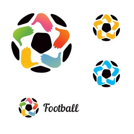 futbol soccer: un bal�n de f�tbol con sus manos y una estrella Vectores