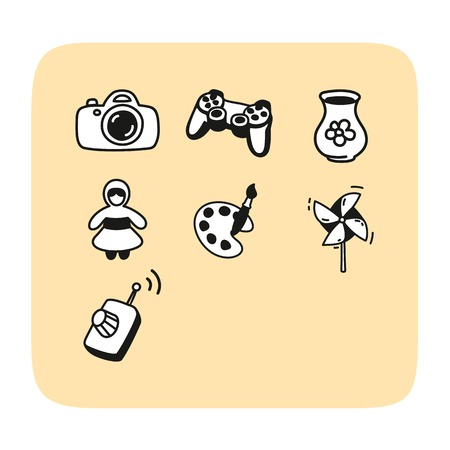 lens brush: Set of cute playing icons