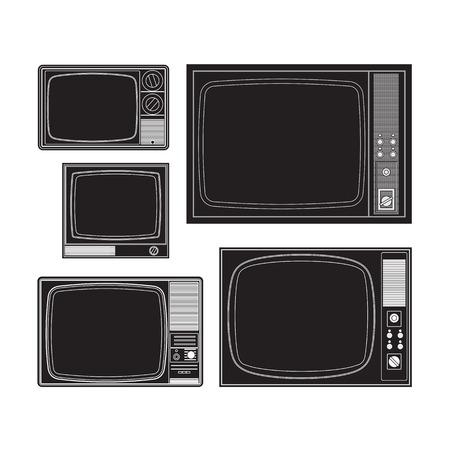 Set of many old TVs Illustration