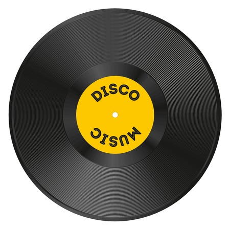 tracklist: Realistic vinyl record with disco music Illustration