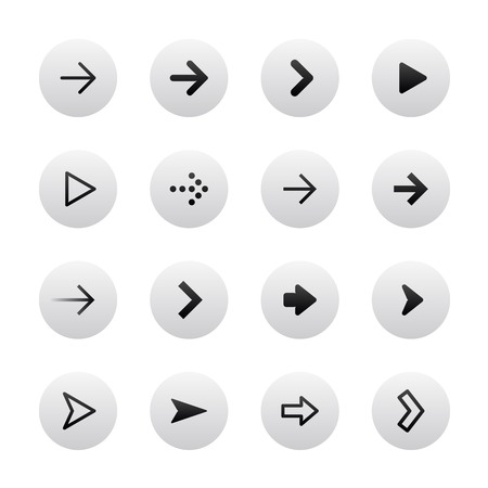 top pointer: Arrow sign icon set. Gray, stylish, clean and modern