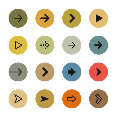 satin round: Colorful arrows icon set