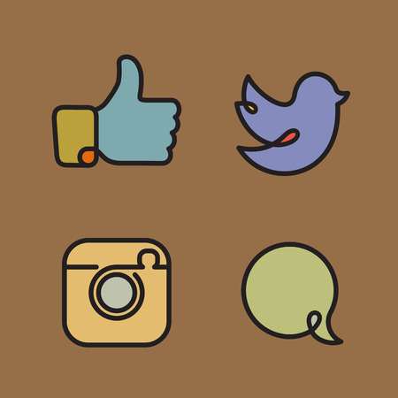 Social network icons and srickers vector set